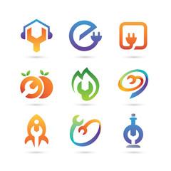 Set of Electrical, service, auto, garage Logo Vector - Wrench Logo