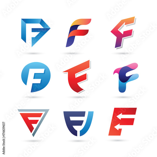 quotset of letter f logo vector colorful modern logoquot stock