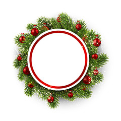 White round background with Christmas wreath.