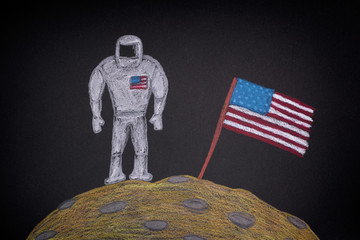 American Astronaut with American Flag on the Moon