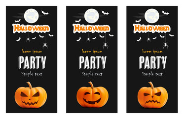 Happy Halloween vector black banner set. Pumpkin illustration for greeting cards, party invitation, posters, labels and banners