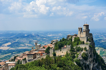 Guaita tower of San Marino with panoramic landscape