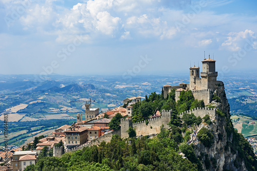 Wall mural Guaita tower of San Marino with panoramic landscape