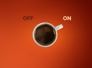 Creative concept of coffe cup. Cup off coffee as a switcher on red background.