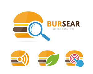Set of burger logo combination. Hamburger and magnifying symbol or icon. Unique snack, fastfood and search logotype design template.