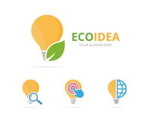 Set of lamp logo combination. Lightbulb and eco symbol or icon. Unique idea and organic logotype design template.