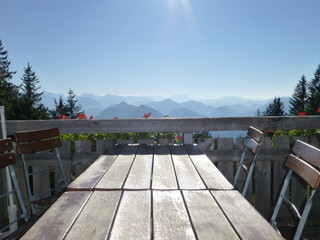Table with beautiful view on the mountains in the Allgäu, Germany