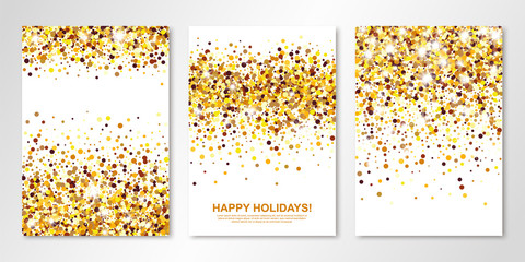 Banners set with gold confetti on white. Vector flyer design templates for wedding, invitation cards, save the date, business brochure design, certificates. All layered and isolated