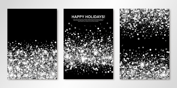 Banners set with silver confetti on black. Vector flyer design templates for wedding, invitation cards, save the date, business brochure design, certificates. All layered and isolated