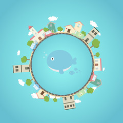Earth planet with city ,park , cars , and cute whale in the middle .Fantasy world with town around.Beautiful earth with eco city concept.Travel on globe.Vector illustration