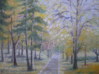 Oil painting, colorful autumn trees