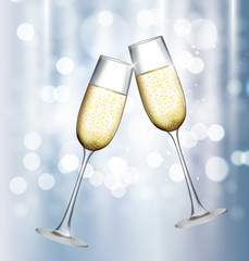 Two Glass of Champagne on Glossy Background. Vector Illustration