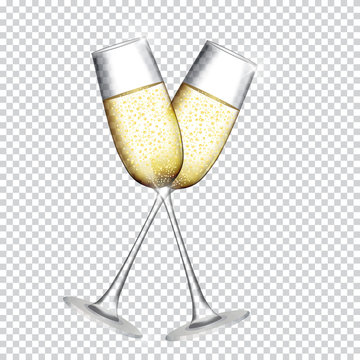 Two Glass of Champagne Isolated on Transparent Background. Vector Illustration