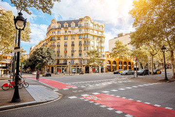 Street view with beautiful buildings in Barcelona city