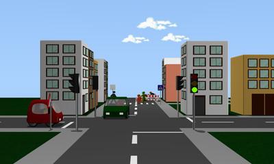 Straßenkreuzung mit grüner Ampel und farbigen Autos