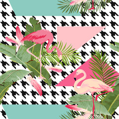 Seamless Tropical Flowers and Flamingo Summer Geometric Pattern, Graphic Background, Exotic Floral wallpaper or Card. Modern Front Page in Vector