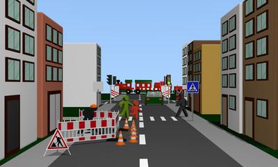 Straße einer Stadt mit Baustelle, Fußgängerüberweg und Fußgängern