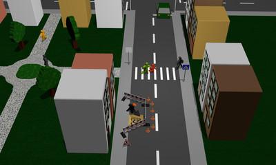 Straße einer Stadt mit Baustelle, Fußgängerüberweg, Park und Fußgängern. Ansicht von oben.