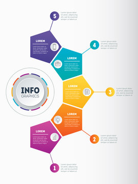 Business presentation, infographic or mind map with five options. Web Template of a chart, mindmap or diagram with 5 steps. Vector dynamic infographics of technology or education process.