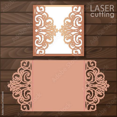 Laser cut wedding invitation card template vector. Cutout paper gate ...