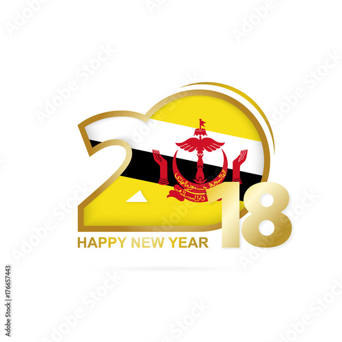 year 2018 with brunei flag pattern happy new year design stock