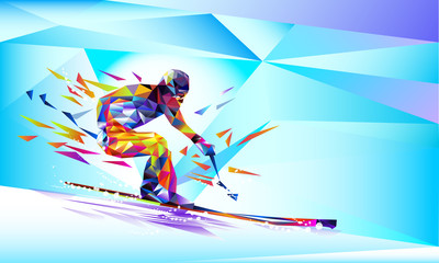 The polygonal colorful figure of a young man snowboarding with on a white and blue background. Vector illustration.