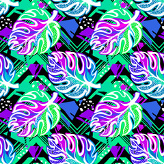 Tropical seamless exotic  leaves vector pattern.