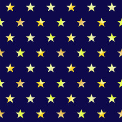 Watercolor hand drawn seamless pattern with golden yellow stars on dark blue background.