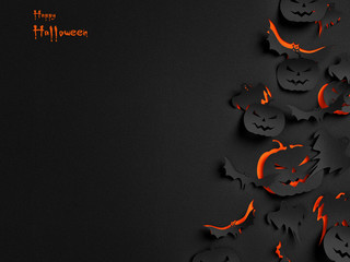 Happy Halloween paper background ( children , party , pumpkin )