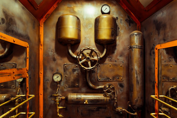 The room in vintage steampunk style