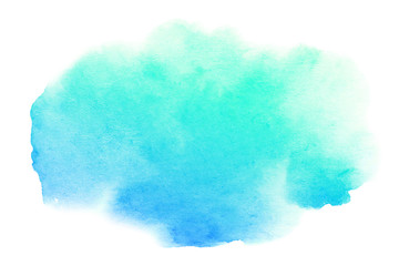 Watercolor artistic brush stroke isolated on white background. Abstract watercolor background for design.
