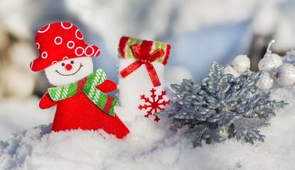 Christmas card girl snowman, silvery snowflake and sock Santa Claus