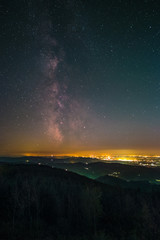 The Milky Way as seen from the summit of the mountain Hornisgrinde in the Black Forest in Germany.