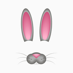 Bunny or hare face elements - ears and nose. Selfie photo and video chart filter with cartoon rabbit mask. Vector illustration.