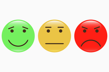 Emoticons. Set of smiley icons. Feedback emotions face. Positive, normal, negative. Vector illustration.