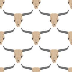 Grunge seamless pattern with bull skulls vector illustration human bone horror art dead face skeleton.