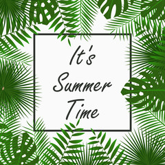 Summer Time card design with - tropical palm leaves, jungle leaf , exotic plants and border frame. Graphic for poster, banner, background. Vector illustration.