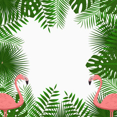 Tropical card, poster or banner template with jungle palm tree leaves and pink flamingo birds. Exotic background with space for text. Vector illustration.