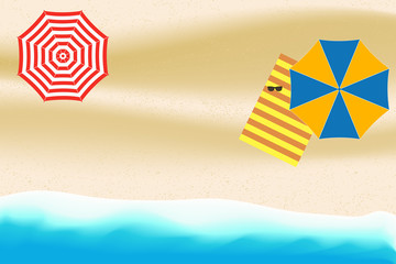Sea or Ocean Beach with umbrella, parasol, striped towel and sunglasses. Summer background for card, banner, poster of tourism. Vector illustration.