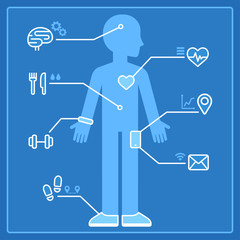 Smart devices health tracking infographics