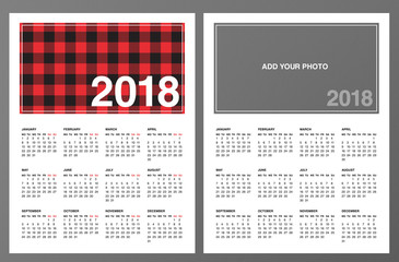"Two 2018 Calendar Templates: Lumberjack patterned frame and ""Add your own photo"". Week starts on Monday. Red black buffalo check plaid pattern swatch is included. Printable Letter size pages 8.5""x11"""