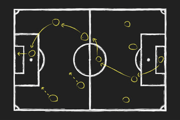 Soccer game strategy. Chalk hand drawing with football tactical plan on blackboard . Vector illustration.