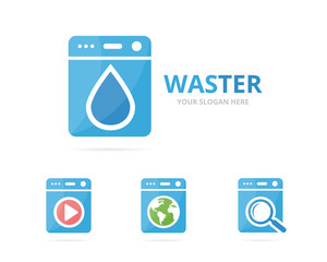 Set of laundry logo combination. Washing machine and oil symbol or icon. Unique washer and droplet logotype design template.