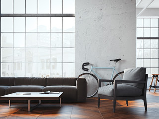 Modern living room with bicycle. 3d rendering