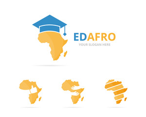 Set of africa logo combination. Safari and study symbol or icon. Unique geography, continent and college logotype design template.