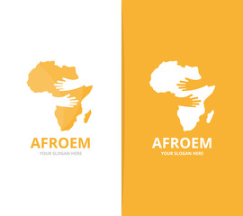 Vector africa and hands logo combination. Safari and embrace symbol or icon. Unique geography, continent and hug logotype design template.