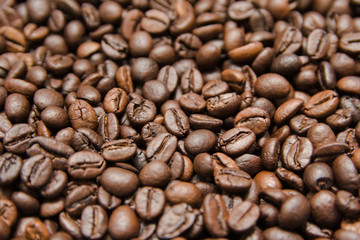 close up roasted coffee beans, can be used as a background