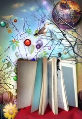 Door stickers Imagination Libro aperto e illustrato delle favole,leggere per viaggiare con l'immaginazione e la fantasia