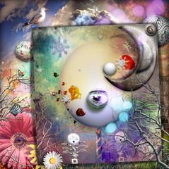 Collage con paese delle meraviglie,luna e fungo magico
