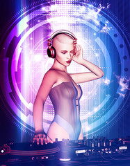 3d illustration of Sexy dj girl at nightclub party,Mixed media